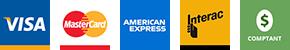 Paiements par carte débit et par Visa, Mastercard, American Express et en argent comptant.